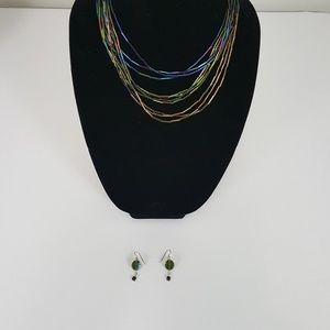 Jewelry - Vintage Tube Shaped Beaded Necklace Earrings Set